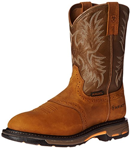 Ariat Men's Workhog Pull-On Work Boot, Aged Bark/Army Green, 13 D US