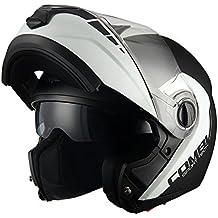 [Patrocinado] Triangle Motorcycle Helmets Casco de motocicleta de acabado mate, modular, con visor dual, corredizo, de alta calidad [ DOT ], L, Negro mate/blanco