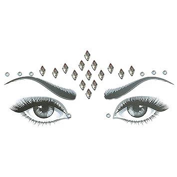 Pausseo Face Shining Flash Drill Acrylic Diamond Jewel Sticker Shiny Mirror Drill Face Tattoo Sticker Gems