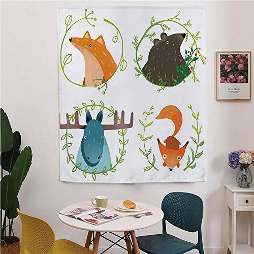 Cabin Decor Blackout Window curtain,Free Punching Magic Stickers Curtain,Wild Forest Animals Set with Laurel Branches Cartoon Style Funny Characters,for Living Room,study, kitchen, dormitory, Hotel,Mu
