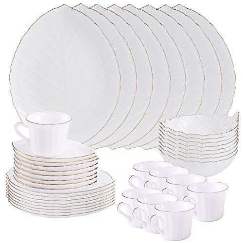 Matashi 40-Piece Opal Glassware Dinner Set - Break Resistant - Freeze Resistant- Dishwasher Safe – Service for 8 - (Vine Collection, Gold Rim) (Leaf Dish Glass)