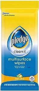 Pledge Multisurface Wipes, Fresh Citrus, 25 Wipes Per Pack (2 Packs)