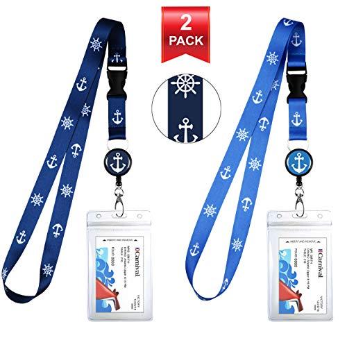 Id Anchor - 2-Pack Cruise Lanyard & Waterproof ID Key Card Holder Clip. Matching Retractable Badge Reel. Bonus Travel Organizer Bag. Essential Cruise Ship Accessories. Anchor Helm 1 Blue & 1 Lite Blue