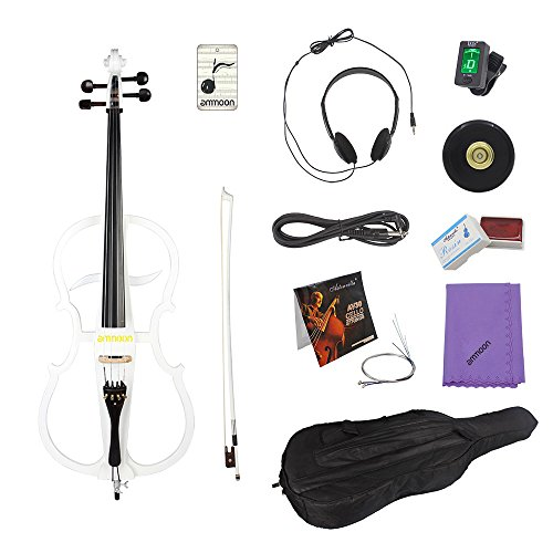 ammoon 4/4 Full Size Solid Wood Electric Cello Violoncello Maple Wood body Ebony Fittings Pearl White in Style 1 with Tuner Headphone Gig Bag by ammoon