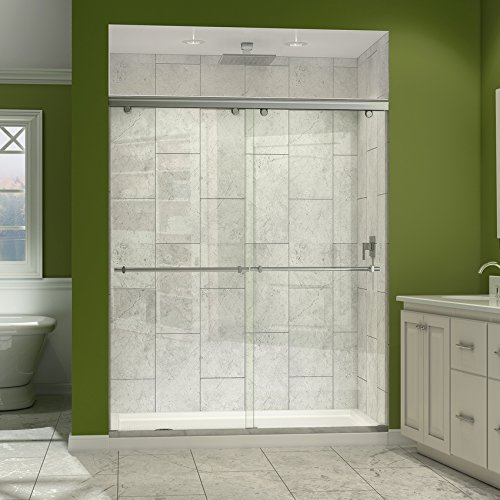 2 in. D x 60 in. W Frameless Bypass Shower Door in Chrome with Left Drain White Acrylic Base Kit, DL-6941L-01CL ()