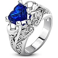 sirimongkol Heart Cut Blue Sapphire 925 Silver Lotus Ring Skull Wedding Band Size 6-10 (7)