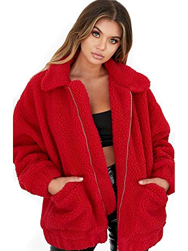 CHOiES record your inspired fashion Women's Red Lapel Long Sleeve Faux Shearling Coat Winter Boyfriend Winter Faux Coat ()