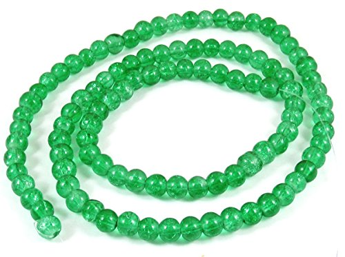 Round Glass Crackle Beads-EMERALD GREEN 6mm (100)