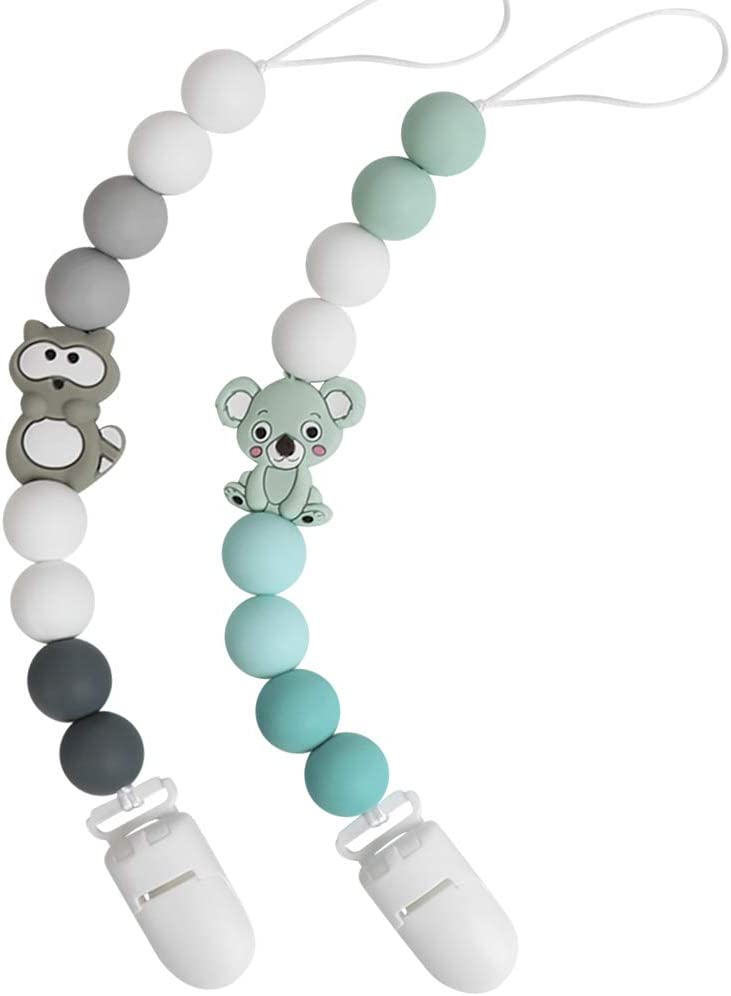 Cadenas Chupetes Bebé Chupetero Mordedor Koala Mapache Silicona Soothie Clip Chupete Holder Binky Clips para Niño y Chicas Sin BPA