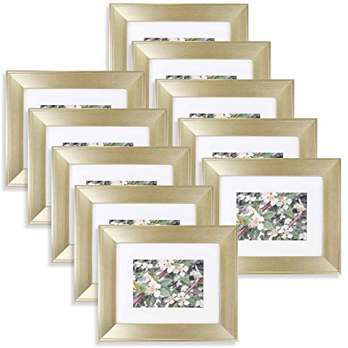 t of 10, 8x10 Gold Frame with 5x7 Openning White Mat, Table-Top Easel Stand, Real Glass (Champagne Gold) (10) ()