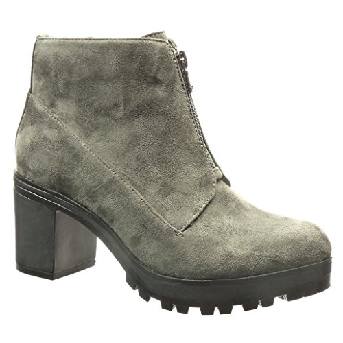 Block Shoes high Ankle cm Women's Fashion Grey Boots Heel 7 Angkorly Platform Desert Boots Booty 1xTCqqw