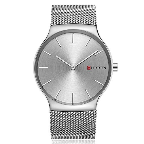 Men Quartz Watch, CURREN Analog Wristwatch with Stainless Steel Mesh Band Ultra Thin Dial Luxury Business and Leisure Dual-use Watch for Men 8256 (Sliver Gray)