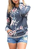Kbook Women's Fashion Floral Print Long Sleeve Pullover Hoodie Sweatshirt with Pockets,Black,Large
