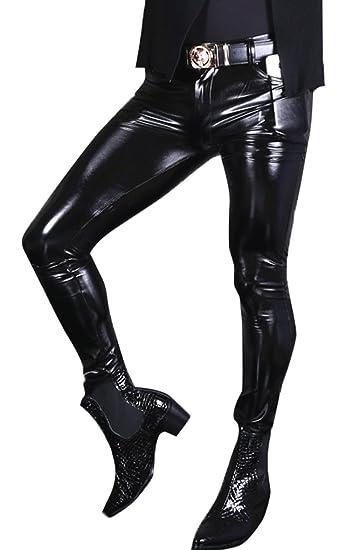 48d6771895c4cb LinvMe Men's Glossy Gothic PVC Pants Elastic Legging Tight Trousers S Black