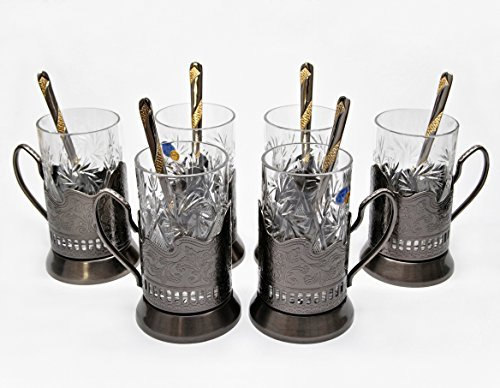 BRONZE Combination of 6 Russian Old-Fashioned CUT Crystal Hot Tea Glass 8.5 Oz & Handmade Metal Glass Holder Podstakannik w/ Gold-plated Teaspoon, Vintage Hot or Cold beverage drinking SET