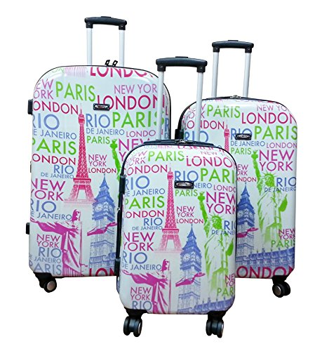 Kemyer, Hard Shell Wheeled Spinner, 3 Piece, Luggage Set (Eiffel)