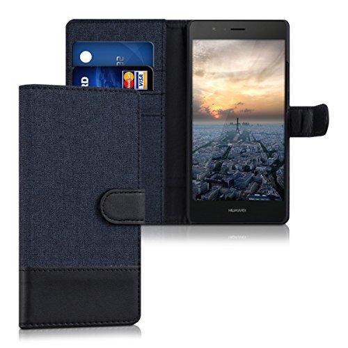 kwmobile Wallet Case Canvas Hülle für Huawei P9 Lite - Flip Tasche mit Kartenfach und Ständer in Dunkelblau Schwarz