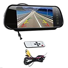 7 Inch 16:9 TFT High Resolution LCD Widescreen Car Rearview Monitor Mirror for Car Camera with Touch Button and Remote Control, Two Ways Of Video Output