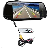 7 Inch 16:9 TFT High Resolution LCD Widescreen Car Rearview Monitor Mirror for Car Reverse Camera with Touch Button and Remote Control, Two Ways Of Video Output