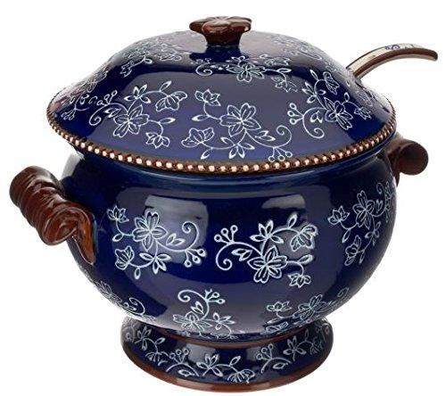 Temp-tations Floral Lace 3 Quart Soup Tureen W/serving Ladle - Blue
