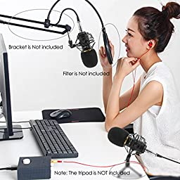 Studio Microphone, SOONHUA 3.5mm PC Microphone Professional Microphone for Recording with Shock Mount