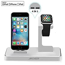 Apple Watch Stand, ARCHEER iPhone Charging Dock with 8 Pin Lightning Adapter , 4 in 1 Apple Charging Station with 2x2.4A USB Output for iphone 7 ipad Other Tablets Cellphones (Silver)