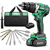 """KIMO 20v Brushless Hammer Drill, 800 in-lb 1/2"""" Cordless Drill Driver w/Battery Fast Charger, Screwing Drilling Hammer Mode, Variable Speed Adjustable LED, Auxiliary Handle & Tool Bag"""