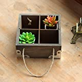 MEOLY Rustic Wooden Square Flowers Planter Box 4 units Containers with Braided Rope Handles