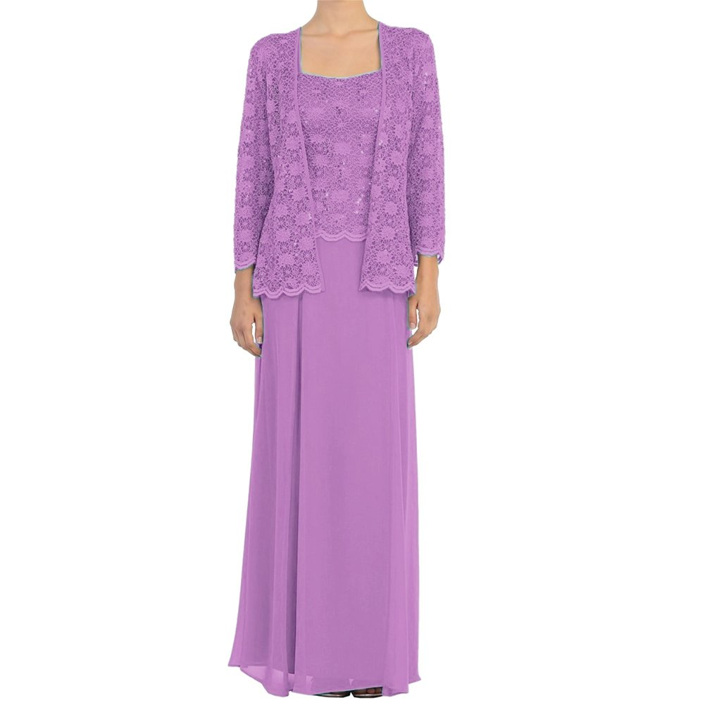 purplec H.S.D Mother of The Bride Dress Lace Long Formal Gowns with Jacket