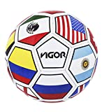 Mozlly League Soccer Ball, 10 inch Size 5 Rubber Textured Easy Grip Handling for Sport Tournament & Champions Game Training Recreation, Outdoor & Indoor for Men Women Boys Girls - International Flags