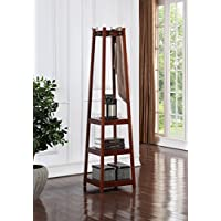 Legacy Decor 8 Hook, 3 Tier Shelves Garment Coat Hat Rack Hanger, Wooden Walnut Finish