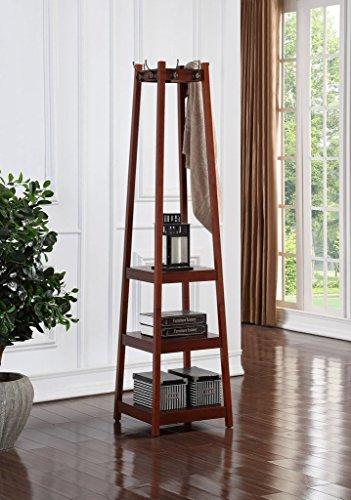 Price comparison product image Legacy Decor Walnut Finish,  Wooden 3 Tier Shelves,  Garment Coat Hat Rack Hanger with 8 Hooks