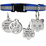 Reflective Cat Collar w/Personalized Stainless-Steel Pet ID Tag. Breakaway Cat Collar Available in Assorted Colors. Cat ID Tag Comes w/ 4 Lines of Engraved Text. (Blue)