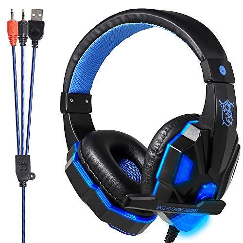 ゲーミングヘッドセット ps4 ヘッドセット 3.5mm 有線 LED高音質40mm 伸縮可能 360°マイク付き 重低音強化 ヘッドフォン 人気 ゲームヘッドセット Headset Gaming PCパソコン/Switch/スカイプ/FPS/Nintendo/Xbox One/スマホ/PUBGに対応1年保証