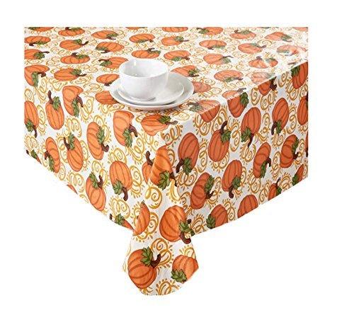 Autumn Pumpkins Fall Vinyl Tablecloth PEVA Flannel Backed 52 x 90 (Vinyl Halloween Tablecloth)
