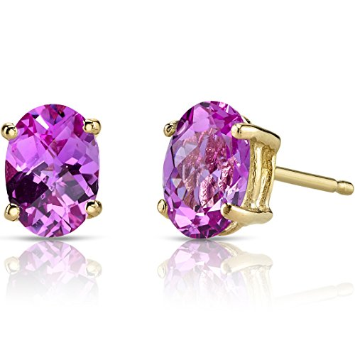 Pink Oval Earrings Sapphire (14K Yellow Gold Oval Shape 2.00 Carats Created Pink Sapphire Stud Earrings)