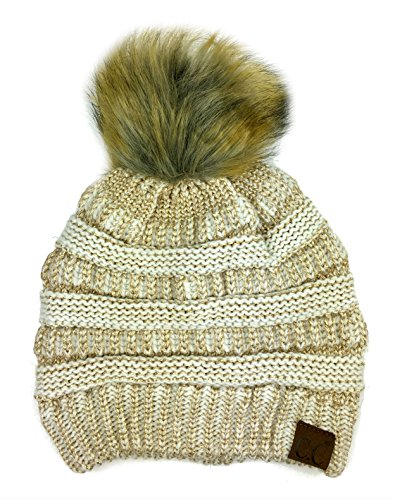 tretch Cable Knit Ribbed Faux Fur Pom Pom Beanie Hat (Ivory-Gold Metallic) ()