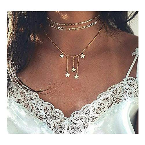 Missgrace Boho Star Geometric Pendant 3 Layered Necklace Dainty Simple Sand Beach Short Lucky Charm Necklaces Jewelry for Women and - Vermeil Lariat Necklace