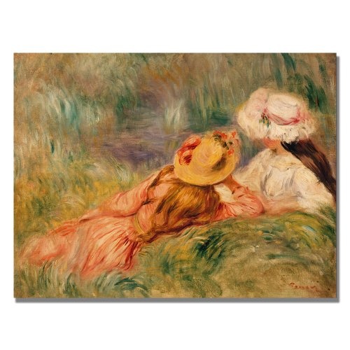 Young Girls By The Water by Pierre Renoir, 18x24-Inch Canvas Wall (Renoir Young Girl)