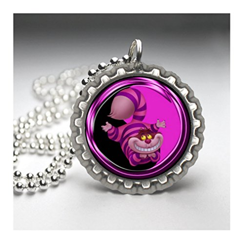 (ALICE IN THE WONDERLAND - CHESIRE CAT Flat Botlte Cap Necklace Silver Color AMZN70)