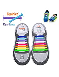 Coolnice® No Tie Shoelaces for Adults bigger size DIY 16pcs - Environmentally safe silicone - Lazy Shoestrings - Color of Rainbow