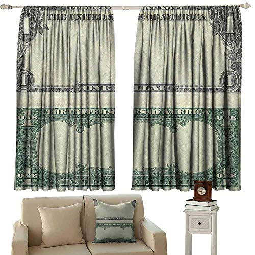 Money Shading Insulated Curtain One Dollar Bill Buck Design American Federal Reserve Note Pattern Wealth Symbol Soundproof Shade W42 x L63 Inch Pale Green Grey (Federal Curtains Style)