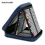 BTSKY® Handy Deluxe Pencil Wrap Case Large For Coloured Pencils- 120 Slot Watercolor Pencil Bags With Zipper (Blue)