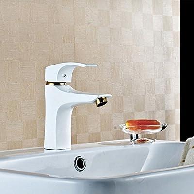 YSRBath Modern Bathroom Sink Faucet Antique Tap Copper Grill White Paint Kitchen Bathroom Basin Mixer Tap Basin Faucet