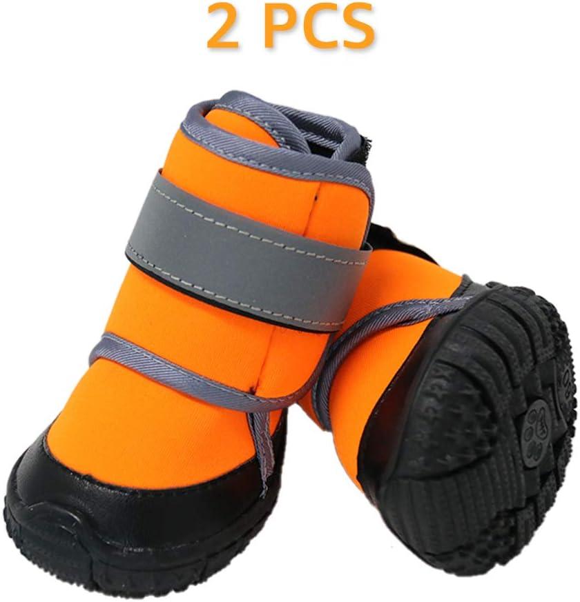 Zeraty Zapatos para Perros Botas para Mascotas Zapatillas para Perros medianos m/ás Grandes con Correas Reflectante Ajustable Suela Antideslizante Resistente Naranja 2PCS