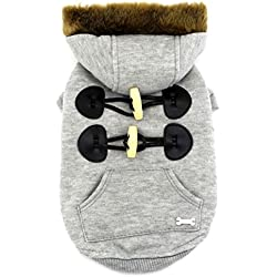 SMALLLEE_Lucky_Store Pet Small Dog Cat Clothes Fleece Horns Hoodie Jacket Hooded Coat Grey M
