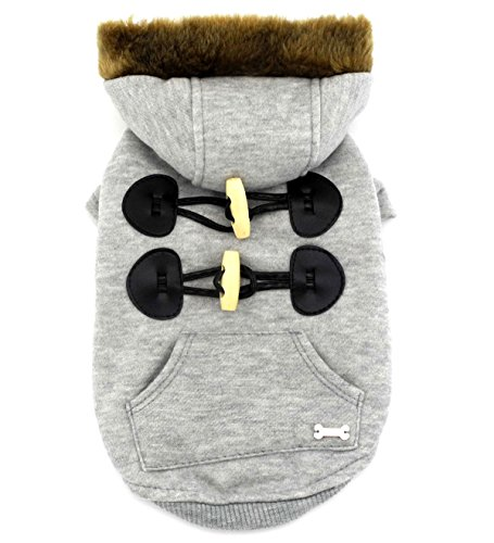 [SMALLLEE_LUCKY_STORE Pet Small Dog Cat Clothes Fleece Horns Hoodie Jacket Hooded Coat Grey M] (Pomeranian Costume)