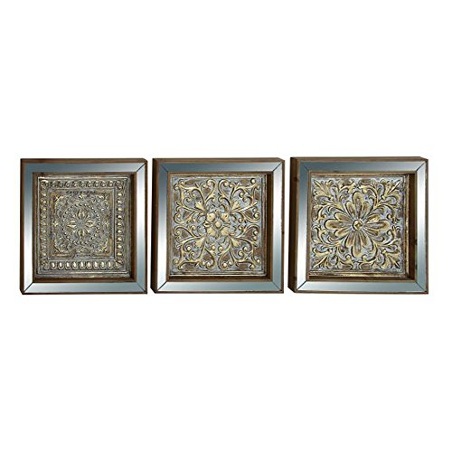 Benzara 44441 Antique Colonial Traditional Metal Mirror Wall Plaque Set of 3 by Benzara