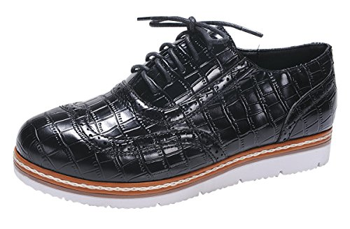 Nature Breeze Mujeres Wingtip Lace-up Croc En Relieve Flatform Oxford Zapato Negro