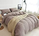 Super King Size Duvet Covers MisDress Jersey Knit Cotton Duvet Cover Set Super Soft Comfy 3 Pieces Solid Pattern Bedding Set 1 Duvet Cover and 2 Pillowcases (King, Dark Coffee)
